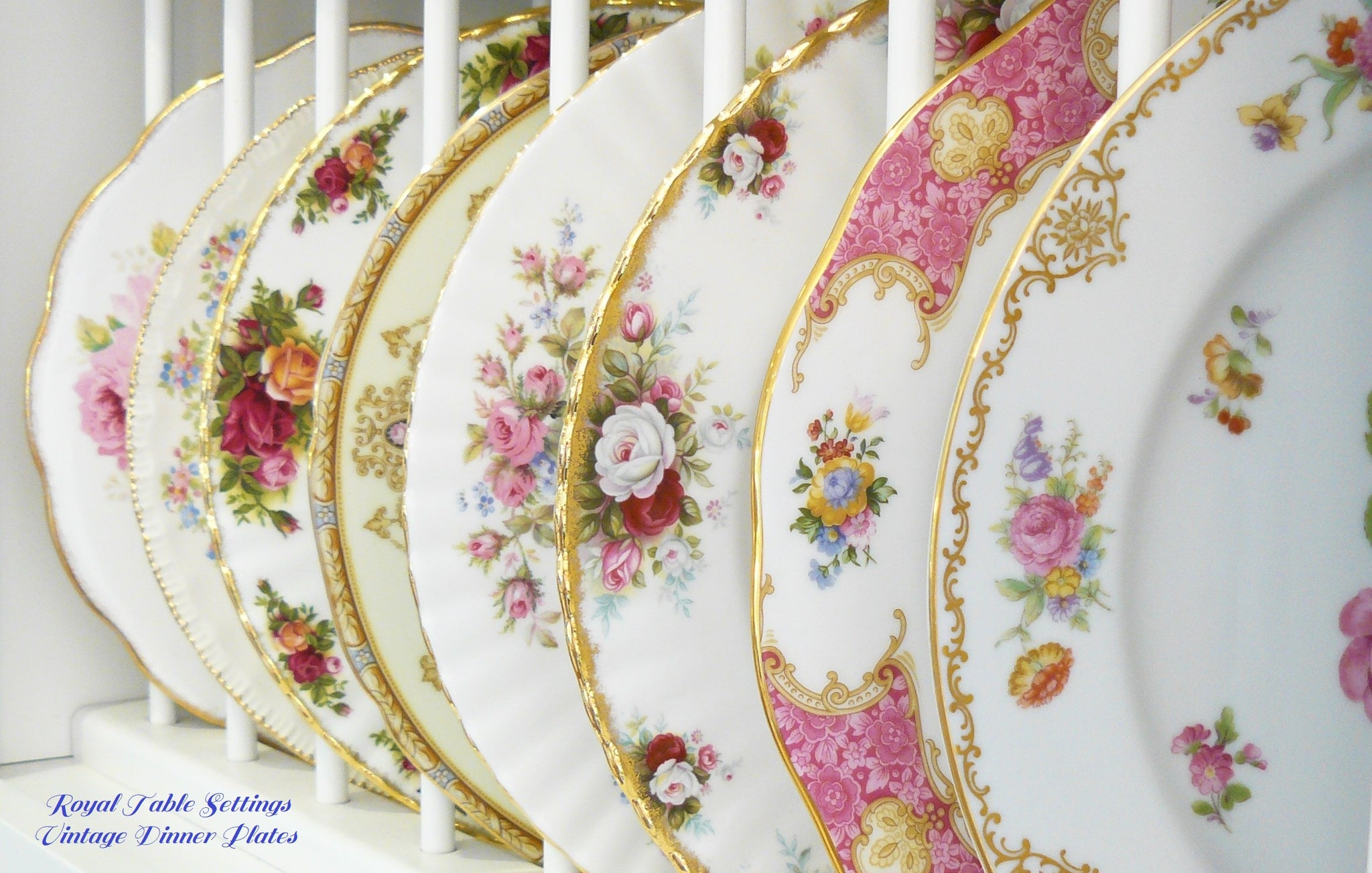 Royal Table Settings Vintage Dinner Plates. Beautiful Vintage china rentals for any type of event!    Vintage Party Rentals. China rentals. Dinner Plate Rentals.