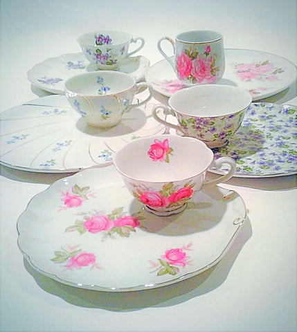 Snack Plate with Matching Tea Cup Set