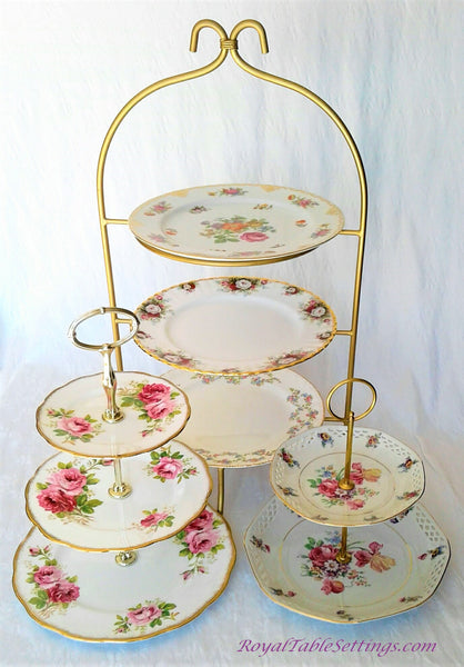 2 and 3-Tier Porcelain Cake Stand next to High Tea Tier Stand