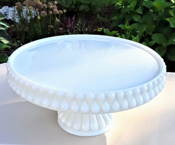 Large - Teardrop Round Milk Glass Cake Stand