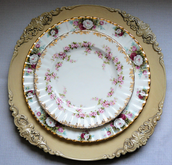Victorian Charger Ivory with Vintage Plates for Rent