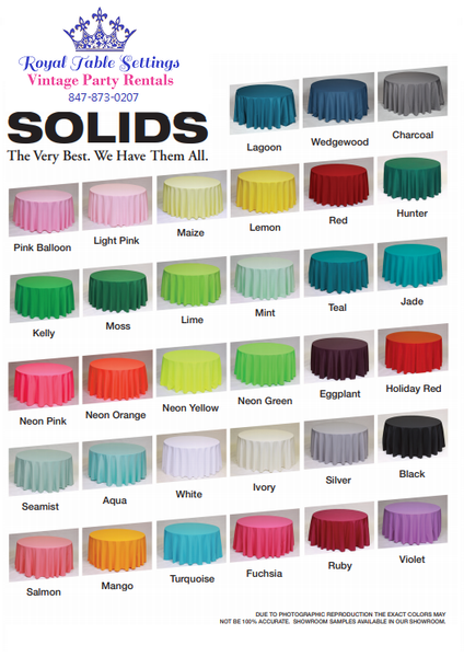 "Solid Color Polyester Table Linens - 132"" Round"