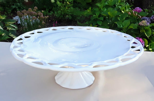 X-Large - Round Milk Glass Lace Cake Stand