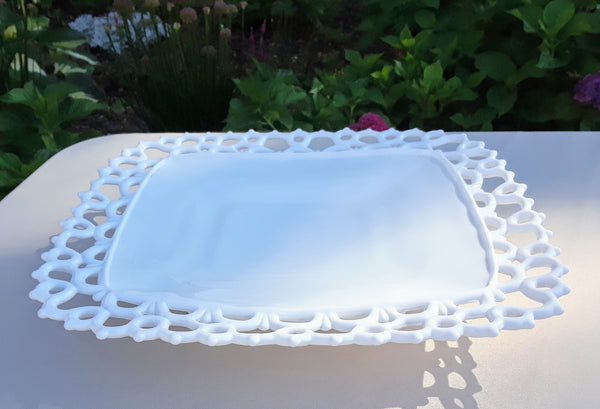Medium - Lace Square Milk Glass Serving Tray