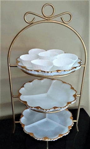 3-Tier Metal Stand With Milk Glass Plates - Royal Table Settings