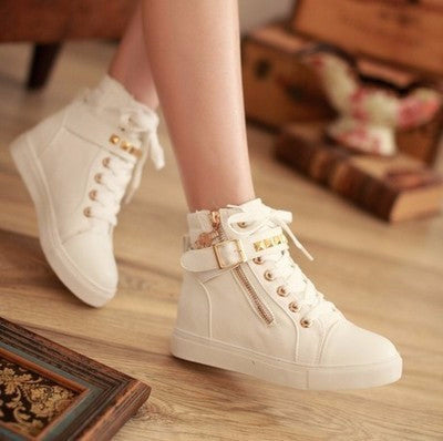 dc454dfae496 Trendy Rivet Ankle Strap Zip Stylish Sneakers