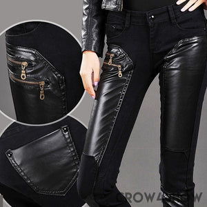 Low Rise Faux Leather Skinny Jeans denim black patchwork goth emo womens pants leggings  - crow4show