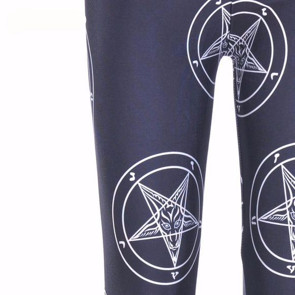 baphomet pentacle goth emo punk rock leggings pants black yoga stretch polyester spandex