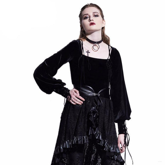lace up black lanter sleeve blouse womens ladies clothes clothing shirt square neck cotton - crow4show.com