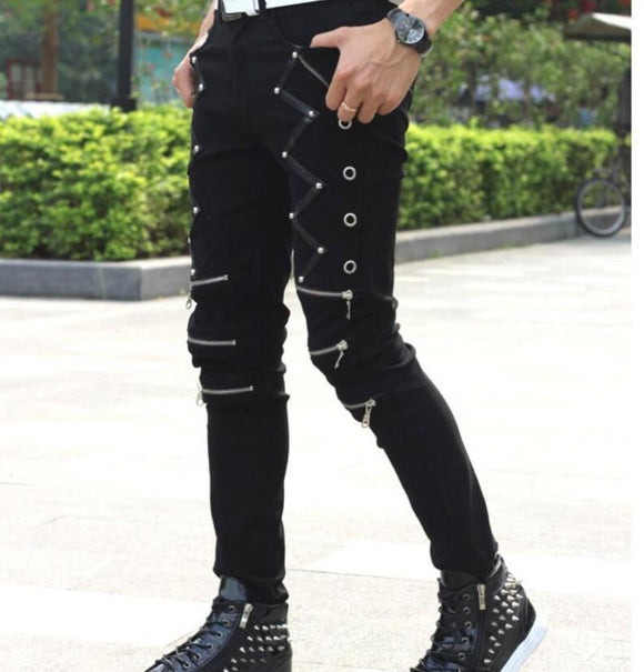 black emo skinny jeans chains zippers denim alternative punk mens clothing pants - crow4show