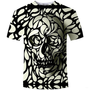 crow4show - punk alternative rock emo 3d printed graphic skull mens Tee shirt black and white