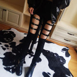 Hollow Out Skinny Pencil Pants emo punk womens black polyester spandex zipper - crow4show