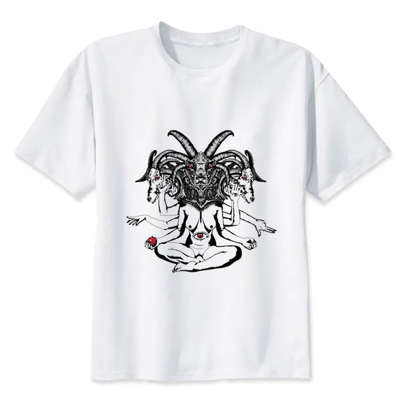 crow4show - goth emo punk metal style casual crew neck o neck short sleeve white mens graphic T tee shirt satanic baphomet imagery