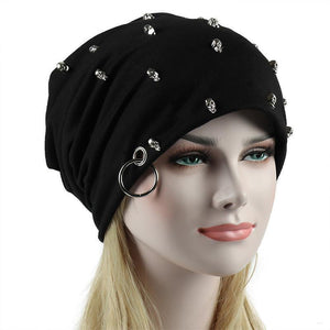 crow4show - womens mens slouchy beanie skull cap with studs rivets and iron ring hat punk metal alternative rock style black cotton