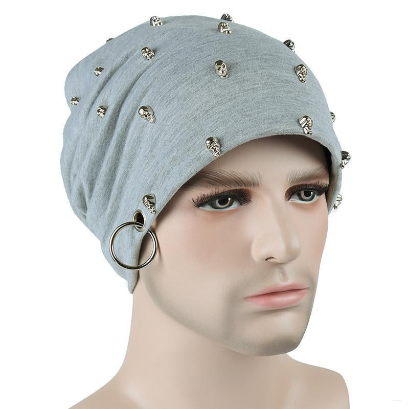 26f2b69b21a ... crow4show - womens mens slouchy beanie skull cap with studs rivets and  iron ring hat punk ...