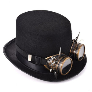 Steam Punk Top Hat With Goggles black concert cosplay gear clothes clothing - crow4show
