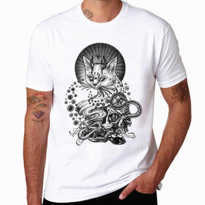 Necro Cat Tee shirt cotton and polyester o neck short sleeve mens womens dudes ladies white graphic printed cosmic horror alternative punk rock metal clothing clothes style - crow4show