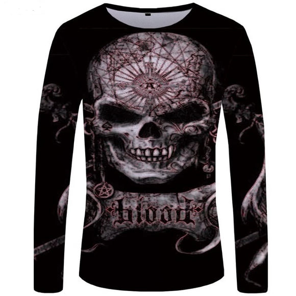 crow4show - cotton polyester long sleeve skull 3d graphic tee
