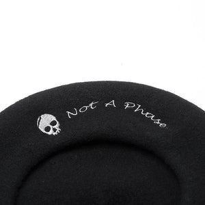 Skull Embroidery Beret