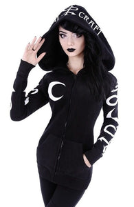 crow4show - black witchy style gothic goth emo punk occult moon witchcraft cotton polyester long sleeve pull over hoodie hooded jacket womens