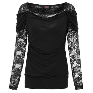 crow4show - Gothic Square Neck Floral Lace Top womens long sleeve shirt emo witchy elegant noir