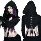 crow4show - black womens crop top gothic punk hooded lace up straps bandage long sleeve shirt emo noir goth