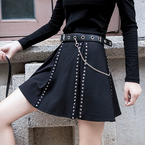 crow4show - punk rivet A line mini skirt cotton polyester emo noir goth black studded