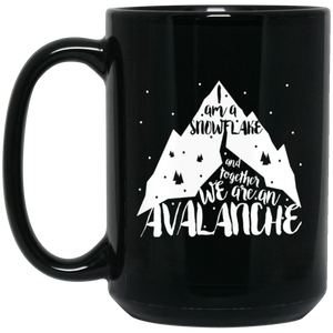 Avalanche - 15 oz. Black Mug - Feminist T Shirts & Apparel