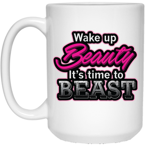 Wake Up Beauty, Beast White Mug | Feminist Mug | Rani Bee - Feminist T Shirts & Apparel