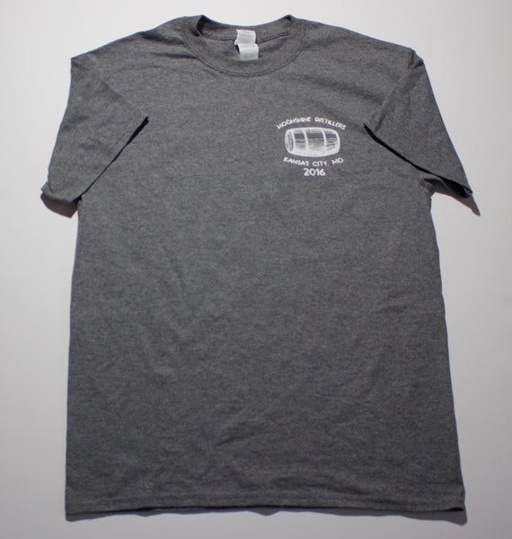 Men's Casual T shirt | Kansas City,Mo Whiskey Front Logo | Mooshine Distillery Original Dirty Joe's Brand Gray Tee