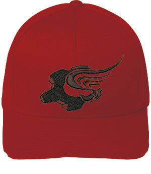 Black/Red Winged Gear Logo Flexfit Cap