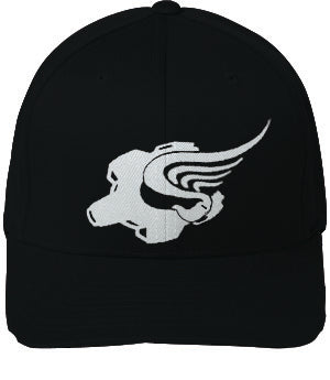 White on Black Winged Gear Logo Flexfit