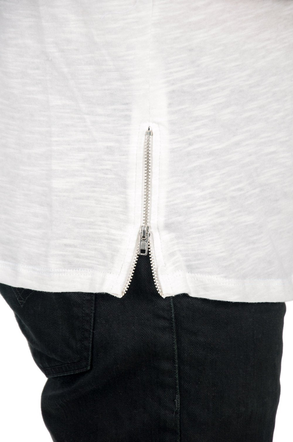 Close up of side zipper