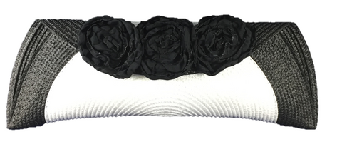 White Black Semi Half Moon Clutch