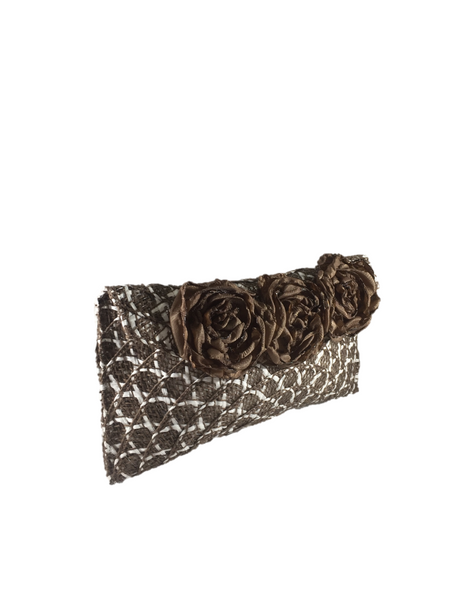 Brown White Rectangular Clutch Bag