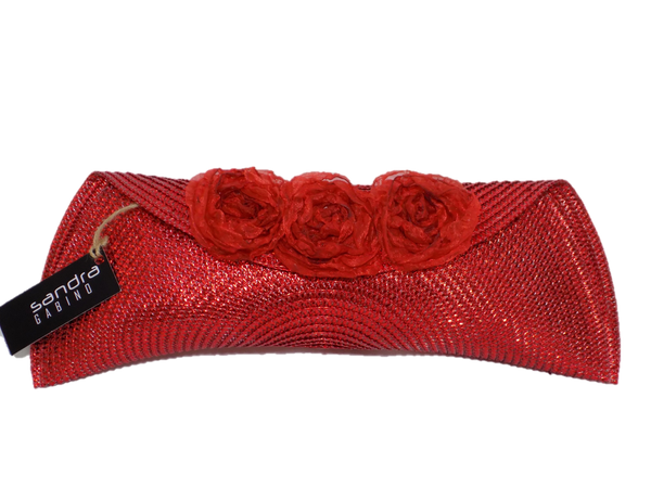 Red Semi Half Moon Clutch Bag