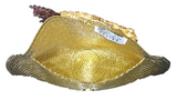 Gold Leaves Semi Half Moon Clutch Bag