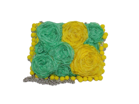 Green Yellow Rectangular Clutch Bag