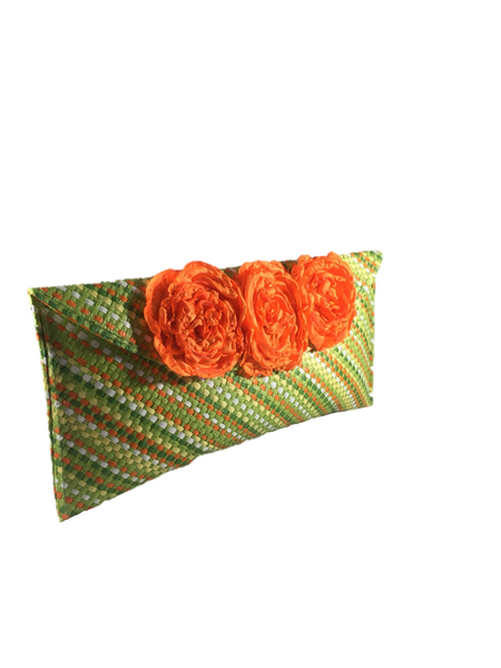 Green Orange Rectangular Clutch Bag