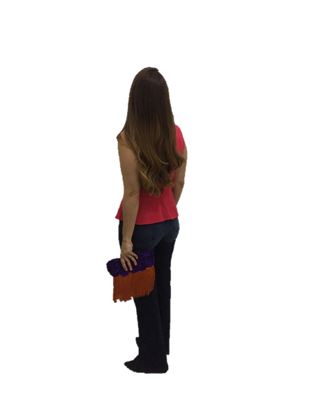 Orange Purple Rectangular Clutch Bag