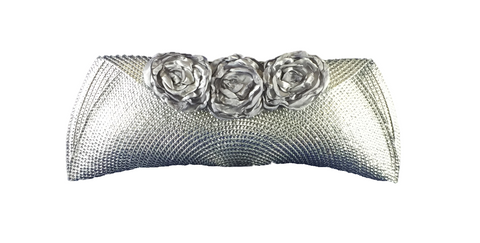 Silver Semi Half Moon Clutch Bag