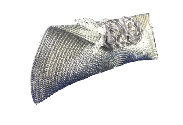 Silver Leaves Semi Half Moon Clutch Bag