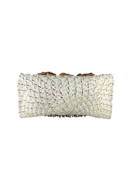 White Gold Rectangular Clutch Bag