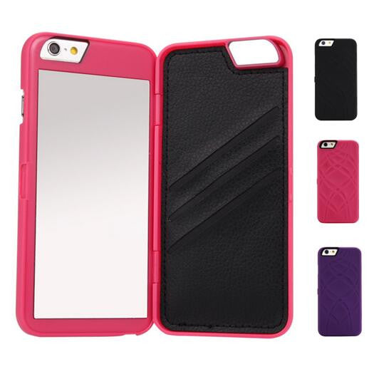 Dual Layer Wallet Mirror Case for iPhone