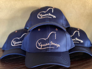 Navy and rose gold equine image hat.