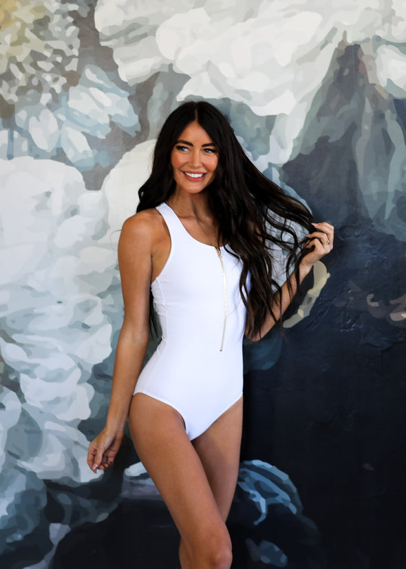 Jenna - White Zipper One-Piece Swimsuit - $74