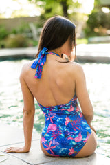 Stephanie - Ruched Floral One-Piece - $68
