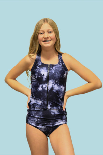 Tween Allie - Tie-Dye Zipper Tankini - $52