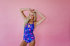 Stephanie - Ruched Floral One-Piece - $49