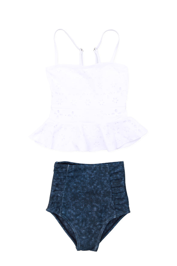 Little Girls Liberty - Eyelet Peplum Tankini - $32